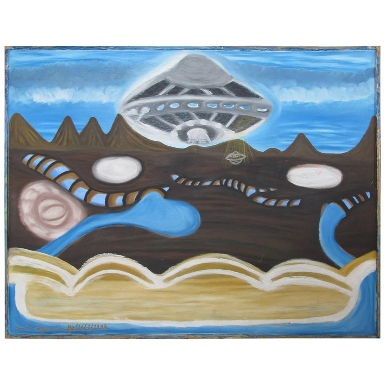 Ionel Talpazan UFO over Planet Painting For Sale