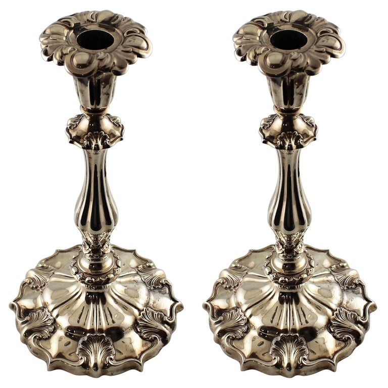 Pair of 19th Century Sterling Silver Candlesticks