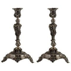 Pair of John George Smith English Sterling Silver Candlesticks