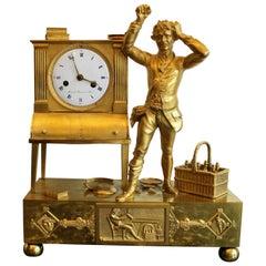 French Bronze Gilded Empire Period Allegorical Clock