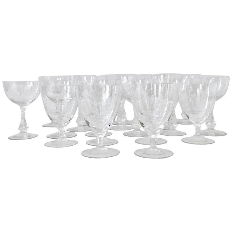 Midcentury american crystal starburst stem glasses set of 20 for sale at 1stdibs - Starburst glassware ...