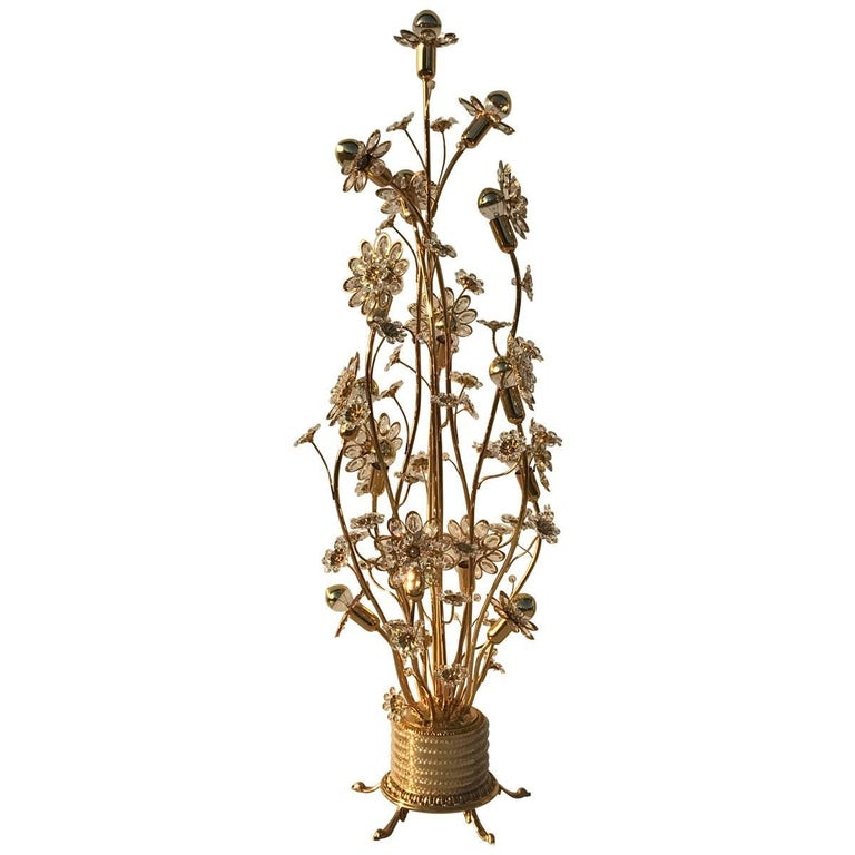Enchanting Illuminated Crystal Flower and Brass Floor Lamp by Palwa