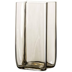 Bosco Carlo Moretti Contemporary Mouth Blown Murano Glass Vase in Clear Beige