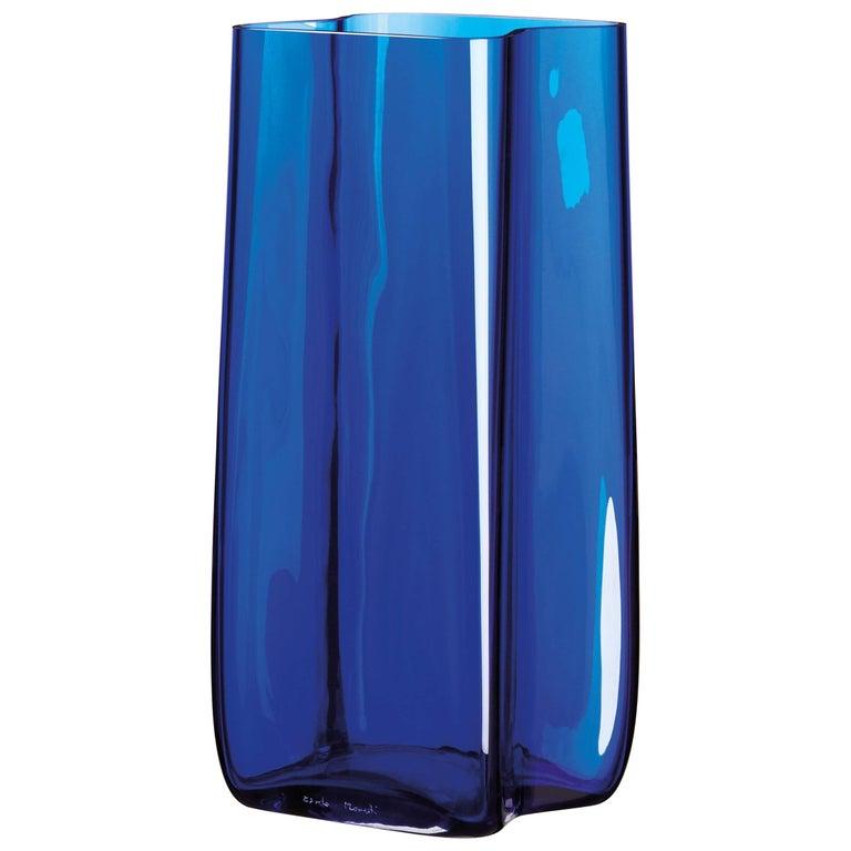Bosco Carlo Moretti Contemporary Mouth Blown Murano Glass Vase in Blue