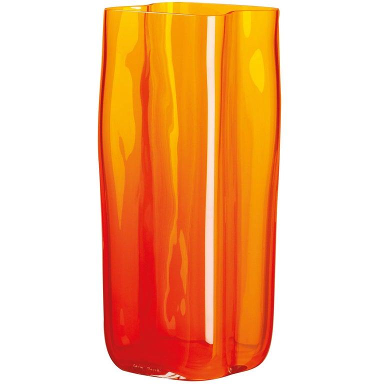 Bosco Carlo Moretti Contemporary Mouth Blown Murano Glass Vase in Orange