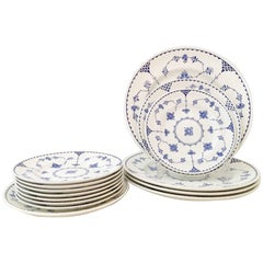 "1980'S English Ironstone ""Denmark Blue"" Dinnerware, Set of 14"