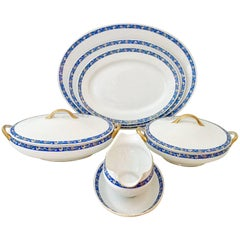 1930' S Art Deco Japanese Porcelain Blue & White Serving Piece Set/8