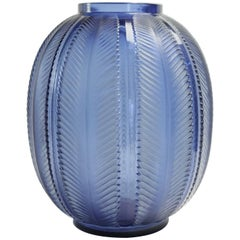 """René Lalique """"Biskra"""" Blue Vase"""