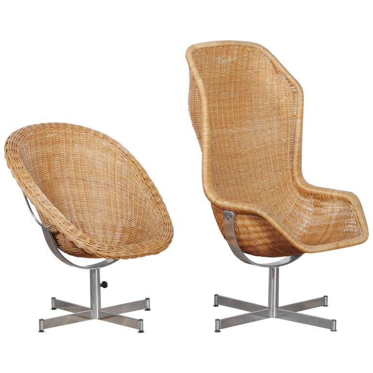 1960s, Set of Rattan Swivel Chairs by Dirk Van Sliedregt for Gebroeders Jonkers