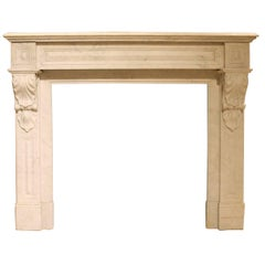 Antique White Marble Fireplace from the 19th Century