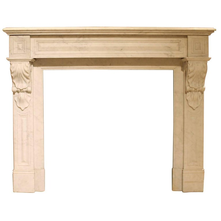 Antique white marble fireplace mantel from the 19th for Marble mantels for sale