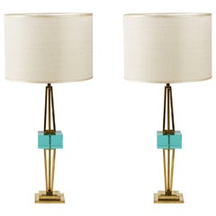 Pair of Table Lamps in Murano Glass and Brass Midcentury by Vistosi