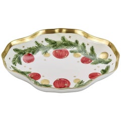 Christmas Hand-Painted Porcelain Dish with Garland Decor