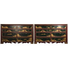 Stunning Pair of 1940s Nine-Drawer Lacquered Chests, Japanese Motif, Widdicomb