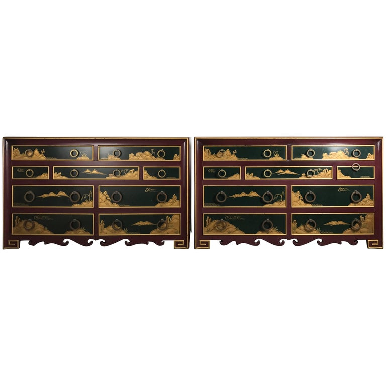 Stunning Pair of 1940s Nine-Drawer Lacquered Chests, Japanese Motif, Widdicomb For Sale