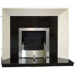 Irish Art Deco Style Marble and Granite Fireplace with Steel Trim & Fire Basket