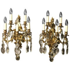 Italian Pair of Gilded Bronze and Crystal Five-Arm Antique Wall Lights