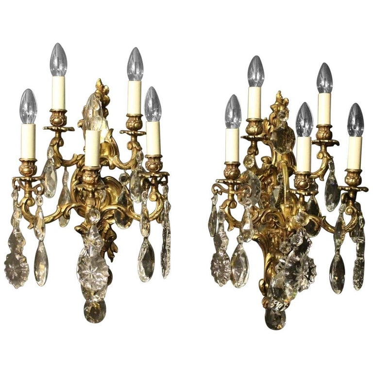 Italian Crystal Wall Lights : Italian Pair of Gilded Bronze and Crystal Five-Arm Antique Wall Lights For Sale at 1stdibs