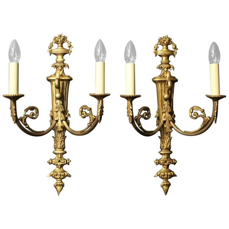 19th Century French Pair of Gilded Bronze Antique Wall Sconces