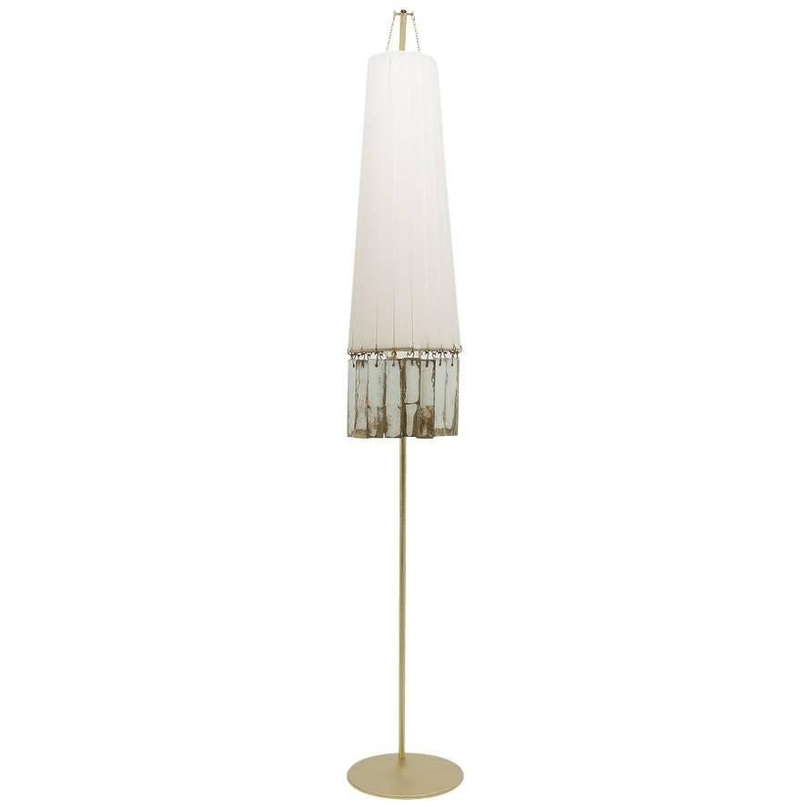 Magic Standing Lamp In Brass, White Strips,double Face Silvered Glass Sheets