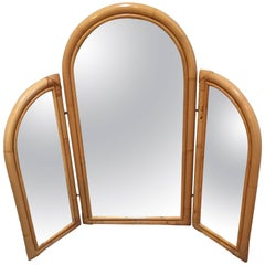 Italian Bamboo Toilette / Dressing Table Mirror, 1950s