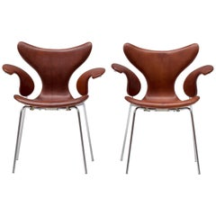Pair of Leather Seagull Chairs