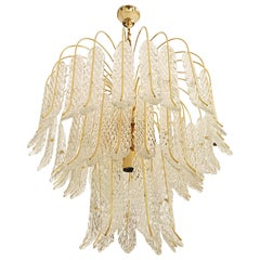 1970 Glass Leaves 54 Pieces with Gold Frame Light Ceiling
