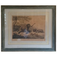 "Early 19th Century Antique Print of Decoy Elephants from ""Oriental Field Sports"""