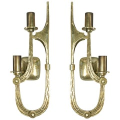 1970s Pair of Brutalist Bronze Sconces Attributed to Angelo Brotto