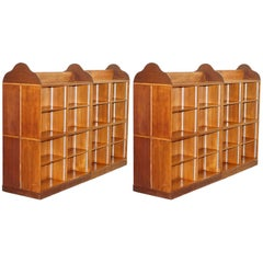 Matching Pair of Mahogany Double Sided Bookcases on Wheels Great Room Dividers