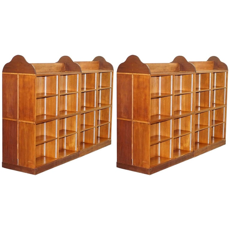 Matching Pair Of Mahogany Double Sided Bookcases On Wheels Great Room Dividers For