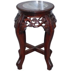Chinese, circa 1920 Hongmu Floral Tree Carved Jardinière Plant Pot Stand