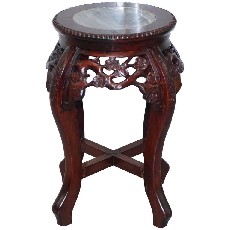 Chinese, circa 1920 Hongmu Floral Tree Carved Jardinière Plant Pot Stand For Sale