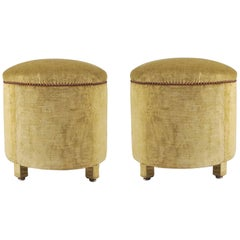 Pair of 1960s Italian Circular Upholstered Stools