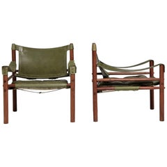 Pair of Arne Norell 'Sirocco' Safari Chairs, Aneby Mobler, Sweden, 1960s-1970s