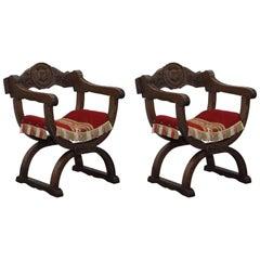 Pair of 16th Century Style Italian Dantesca Carved Wood Chairs Dante Savonarola