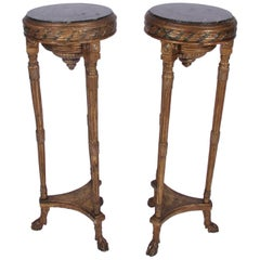 Pair of French Tall Giltwood Tables