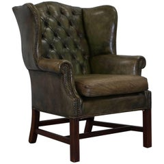Original Hand Dyed 1960s Green Leather Chesterfield Georgian Wingback Armchair