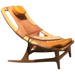 Rare Arne Tidemand Ruud Holmenkollen Chair with Tablet Midcentury Leather Oak