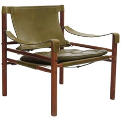 Arne Norell Safari Chair, Green Leather and Rosewood, Sweden, 1970s