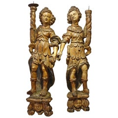 Pair of Angel Torchbearers, South of France or Spain, Late 16th Century