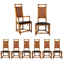Elegant Restored Set of Eight Throne Dining Chairs by Willow and Reed
