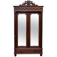 Stunning Hand-Carved Wood French Country Mirrored Double Door Armoire Wardrobe