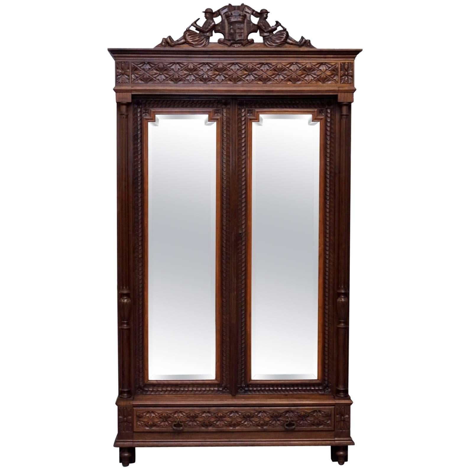 Attirant Stunning Hand Carved Wood French Country Mirrored Double Door Armoire  Wardrobe For Sale