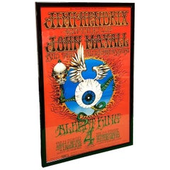 Rick Griffin Jimi Hendrix and the Flying Eyeball Poster, 2nd Print, Framed