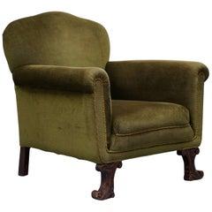 Rare Regency circa 1800 Spade Feet Green Velvet Velour Club Armchair Rare Find