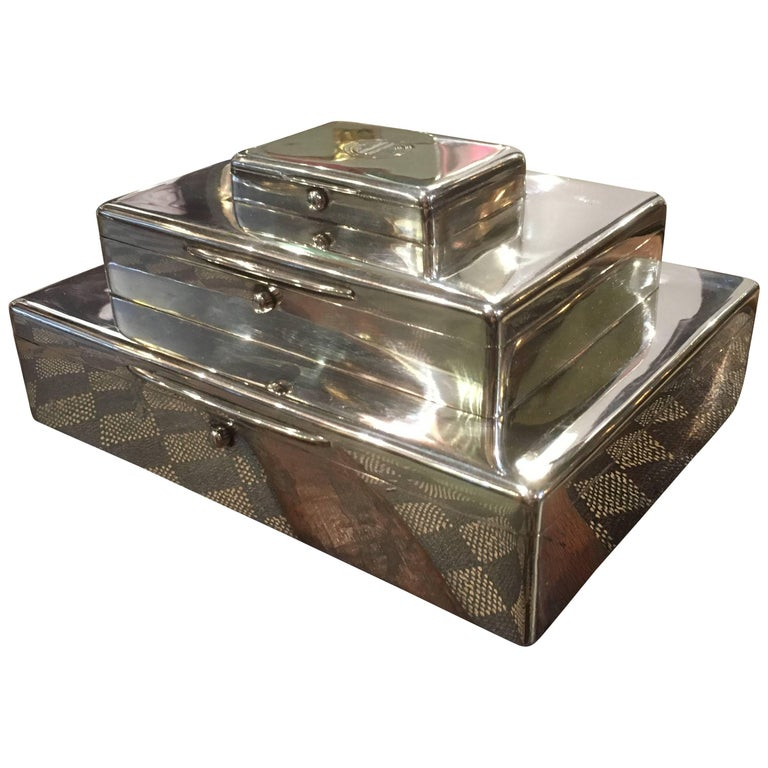Art Deco Asprey Sterling Silver Triple Tier Cigar, Cigarette and Vesta Box