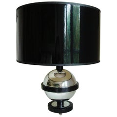 American Art Deco Chrome, Black Lacquered Wood and Bakelite Saturn Table Lamp