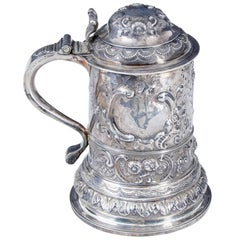 George I Silver Rococo Silver Lidded Tankard by John Penfold