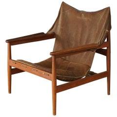 Rare Hans Olsen Safari Chair with Suede Leather, Sweden, circa 1960